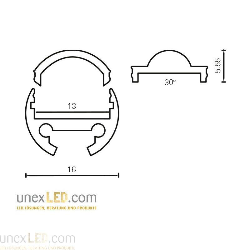 Eloksiran okrogli Alu profil 16 mm 3000 mm 2