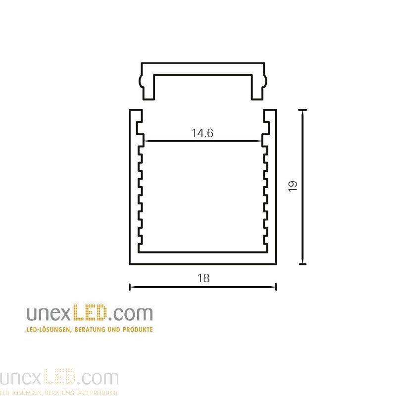 Alu Profil 18,0 x 19,0 mm eloksiran 3000 mm 5