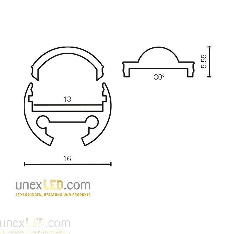 Pokrov za okrogli alu profil 16 mm 3000 mm 1