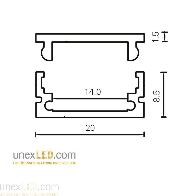 Aluminijasti profil 20,0 x 8,5 mm, eloksiran 3000 mm 3