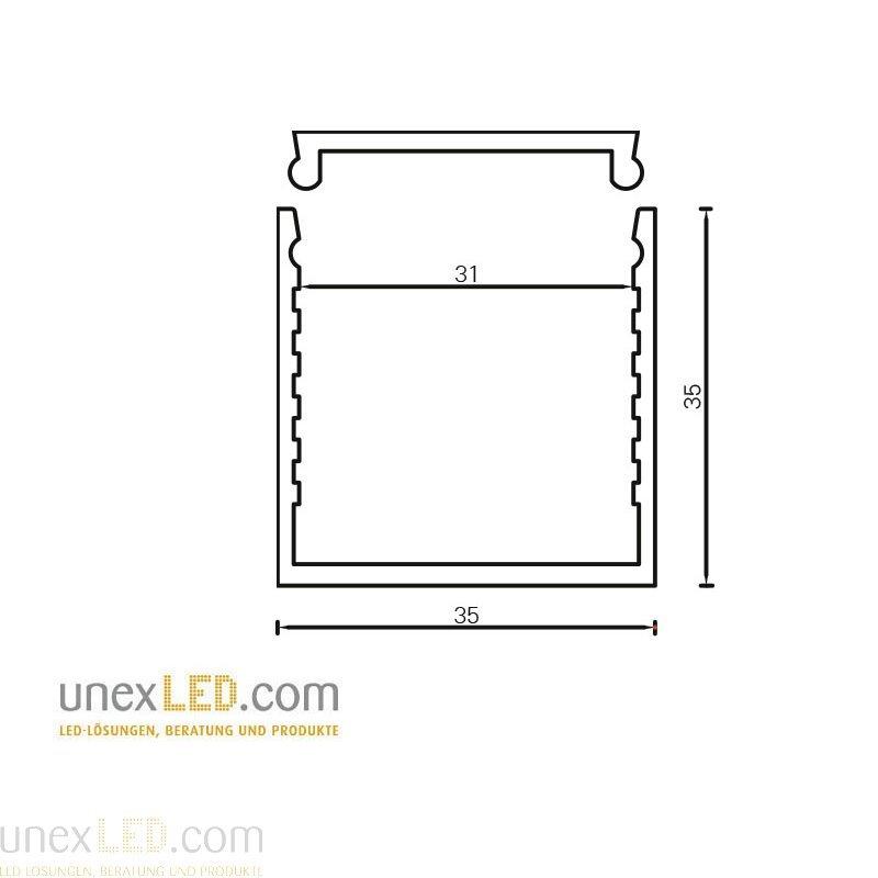 Alu profil 35,0 x 35,0 mm anodiziran 3000 mm 3