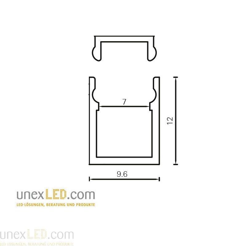 9,6 x 12,0 mm pokrov razpršen polikarbonat 3000 mm 1
