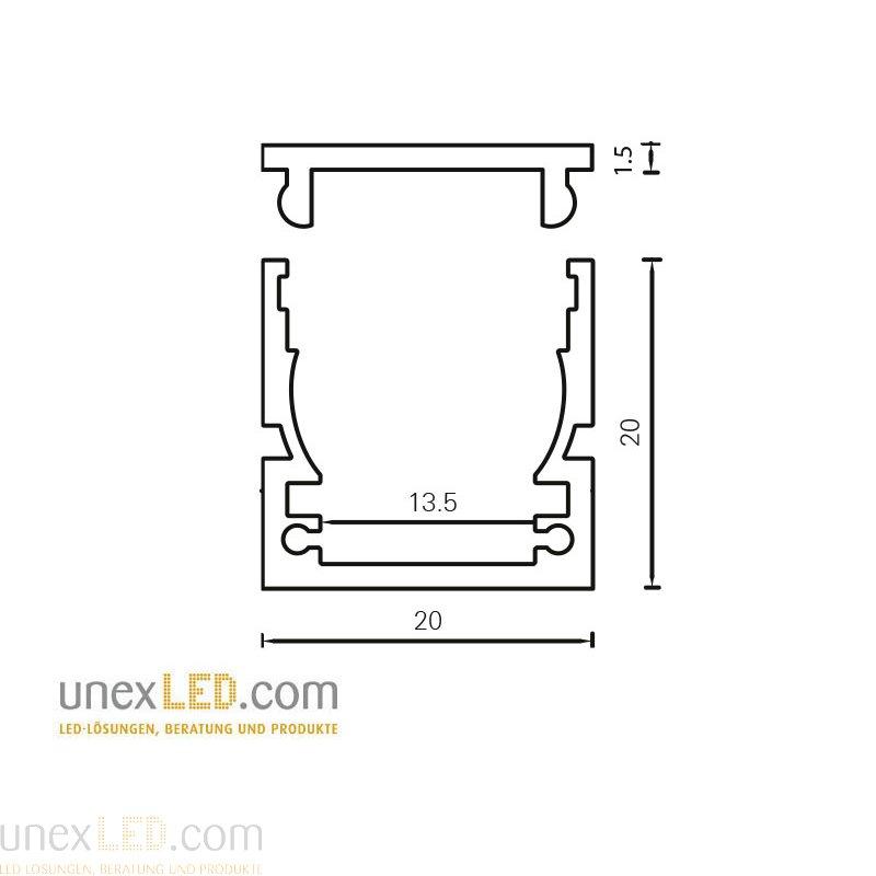 Pokrov za profil 20 x 20 mm in 20,0 x 8,5 mm in montažni profil Linea 2