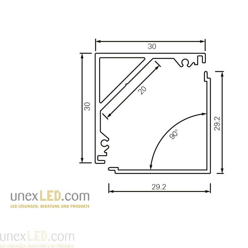 Pokrov za 45° kotni kvadratni profil 30 x 30 mm 1