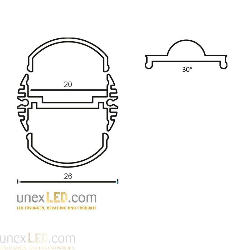 Pokrov za profil 26,0 mm okrogel in 24,5 x 7,7 mm 1