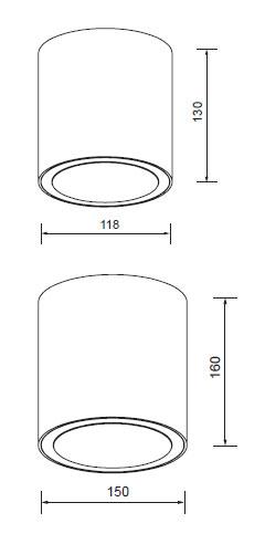 LED stropni cilinder 34W 1